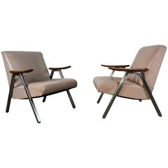 Classic Pair of Royal Chrome Aluminum Lounge Chairs