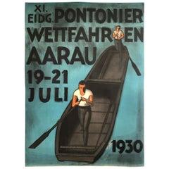 Original 1930 Swiss Punt Boat Rowing Racing Poster