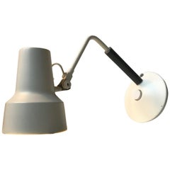 Midcentury White Desk or Wall Lamp by Jac Jacobsen for Luxo, 1960s