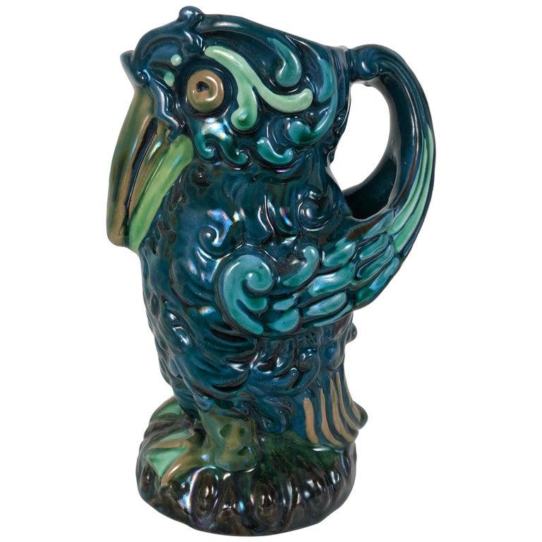 Longpark English Art Pottery Bird Pitcher For Sale