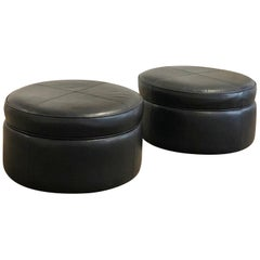 Pair of Leather Ottomans by Donghia