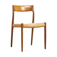 Midcentury Danish Modern Niels Møller Teak and Danish Cord Dining Chair, 1960s