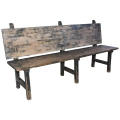 Vintage Rustic Farm Bench with Back