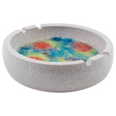 Bitossi Italy for Raymor Ceramic Ashtray Bowl Fritte Fused Glass Colorful Mosaic
