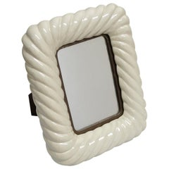 Tommaso Barbi off White Porcelain Ceramic and Brass Picture Frame