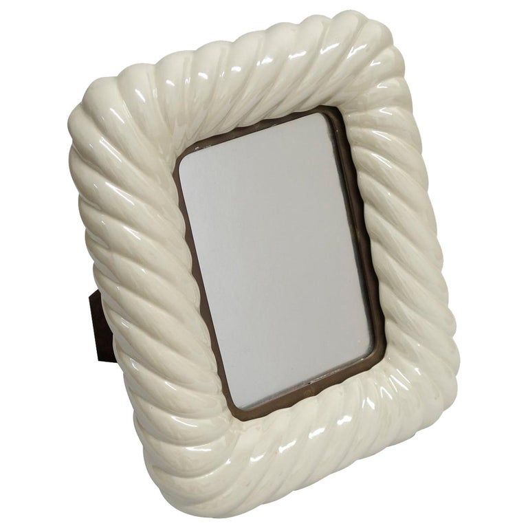 Tommaso Barbi off White Porcelain Ceramic and Brass Picture Frame For Sale