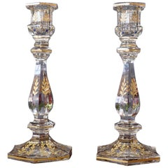 Pair of Glass Candle Sticks with Gold Etching of Flowers, circa 1900