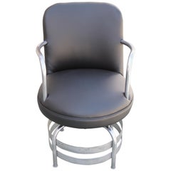 Art Deco / Machine Age Tubular Chrome Swivel Armchair