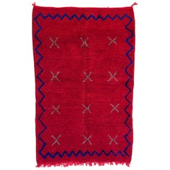 Moroccan Wool Shag Rug Thick Beni Ourain, Hand Knotted, Plush Red & Blue