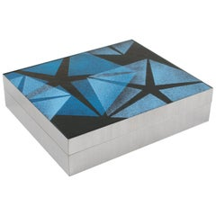 1970s Modernist Brushed Stainless Steel and Blue Enamel Decorative Box