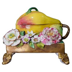 English Porcelain Pear-Form Inkwell, Flower Encrusted, circa 1835
