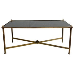 Brass and Black Glass Maison Jansen Coffee Table