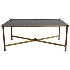 Brass and Black Glass Maison Jansen Coffee Table