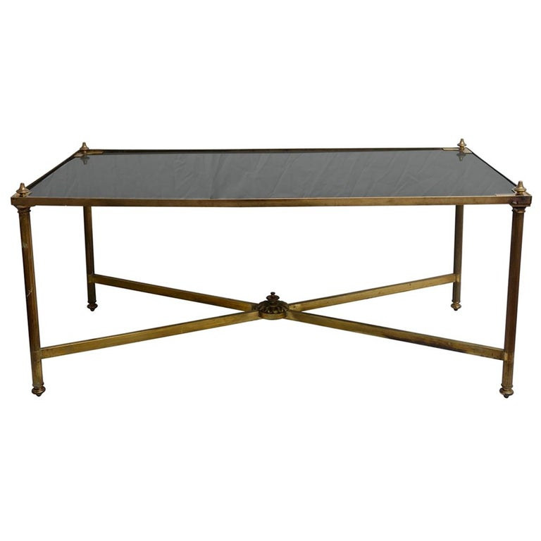 Black Glass Coffee Table Sale: Brass And Black Glass Maison Jansen Coffee Table For Sale