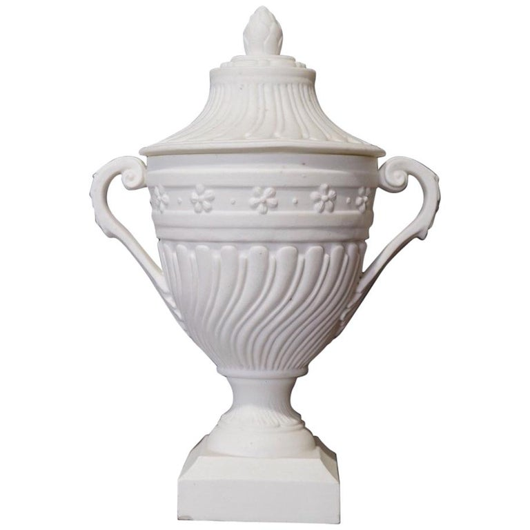 Mennecy Unglazed Porcelain Classical Covered Urn, circa 1765 For Sale