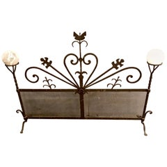 Art Deco Forged Iron Fireplace Screen