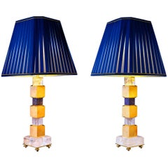 Rock Crystal and Lapis Lazuli Art Deco Style Pair of Lamps by Alexandre Vossion