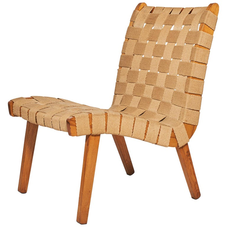 Jens Risom Style Lounge Chair, 1960s For Sale