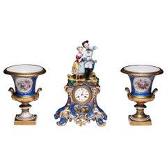Three-Piece Old Paris Porcelain Mantel Clock Jacob Petit-Style