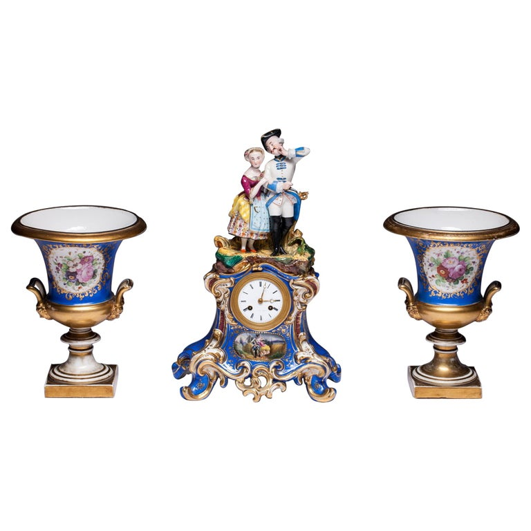 Three-Piece Old Paris Porcelain Mantel Clock Jacob Petit-Style For Sale