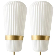 Pair of Large Opal Ribbed Glass Wall Lights/Sconces Designed by Philips, 1950s