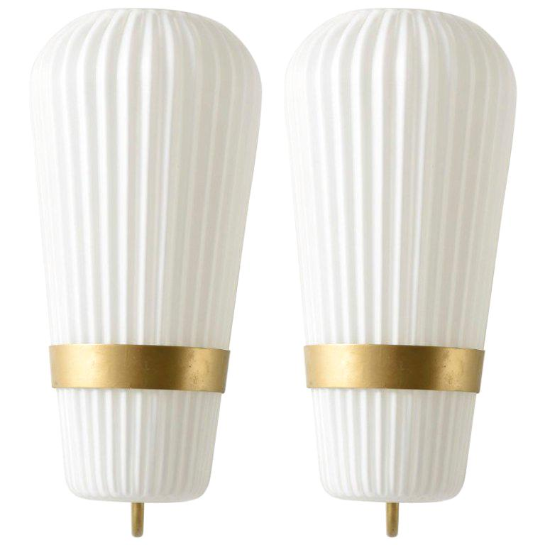 Pair of Large Opal Ribbed Glass Wall Lights/Sconces Designed by Philips, 1950s For Sale