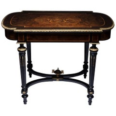 Louis XVI Style Gilt Bronze and Marquetry Center Table France, 19th Century