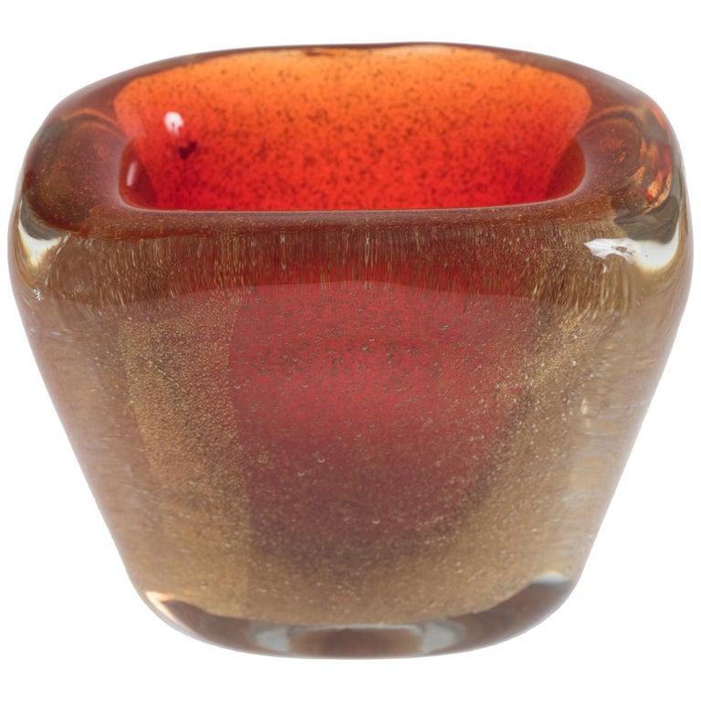 Vintage Orange Murano Vase by Carlo Scarpa, circa 1955 For Sale