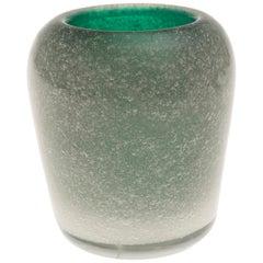 Vintage Murano Green Glass Vase by Carlo Scarpa for Venini, circa 1955
