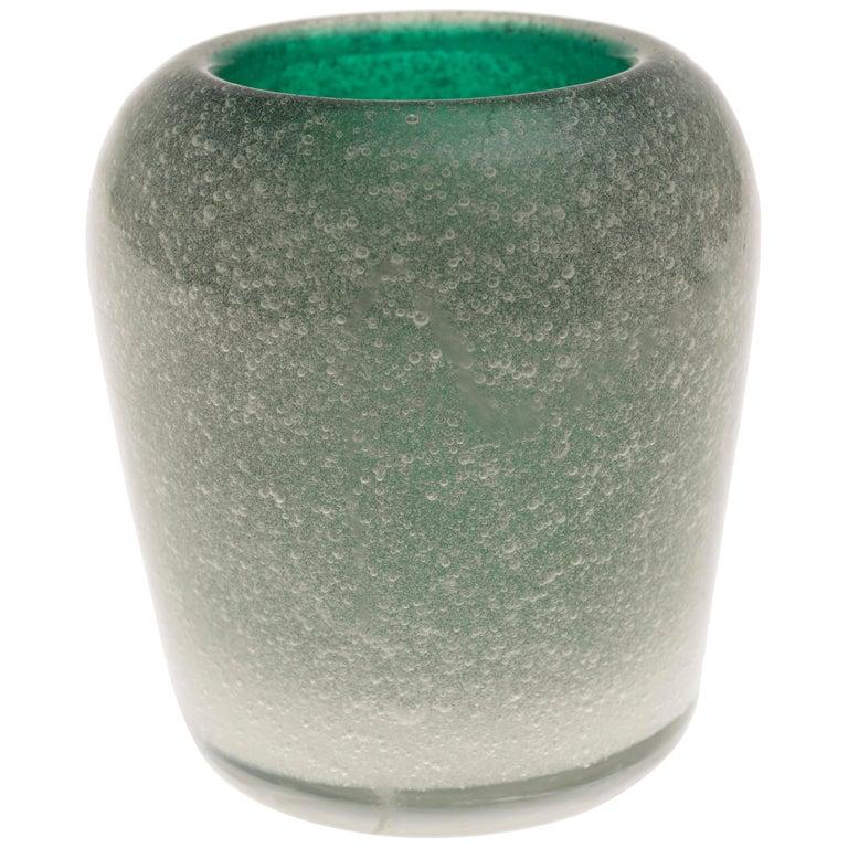 Vintage Murano Green Glass Vase by Carlo Scarpa for Venini, circa 1955 For Sale