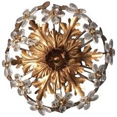 Florentine Glass Flower Flush Ceiling Light