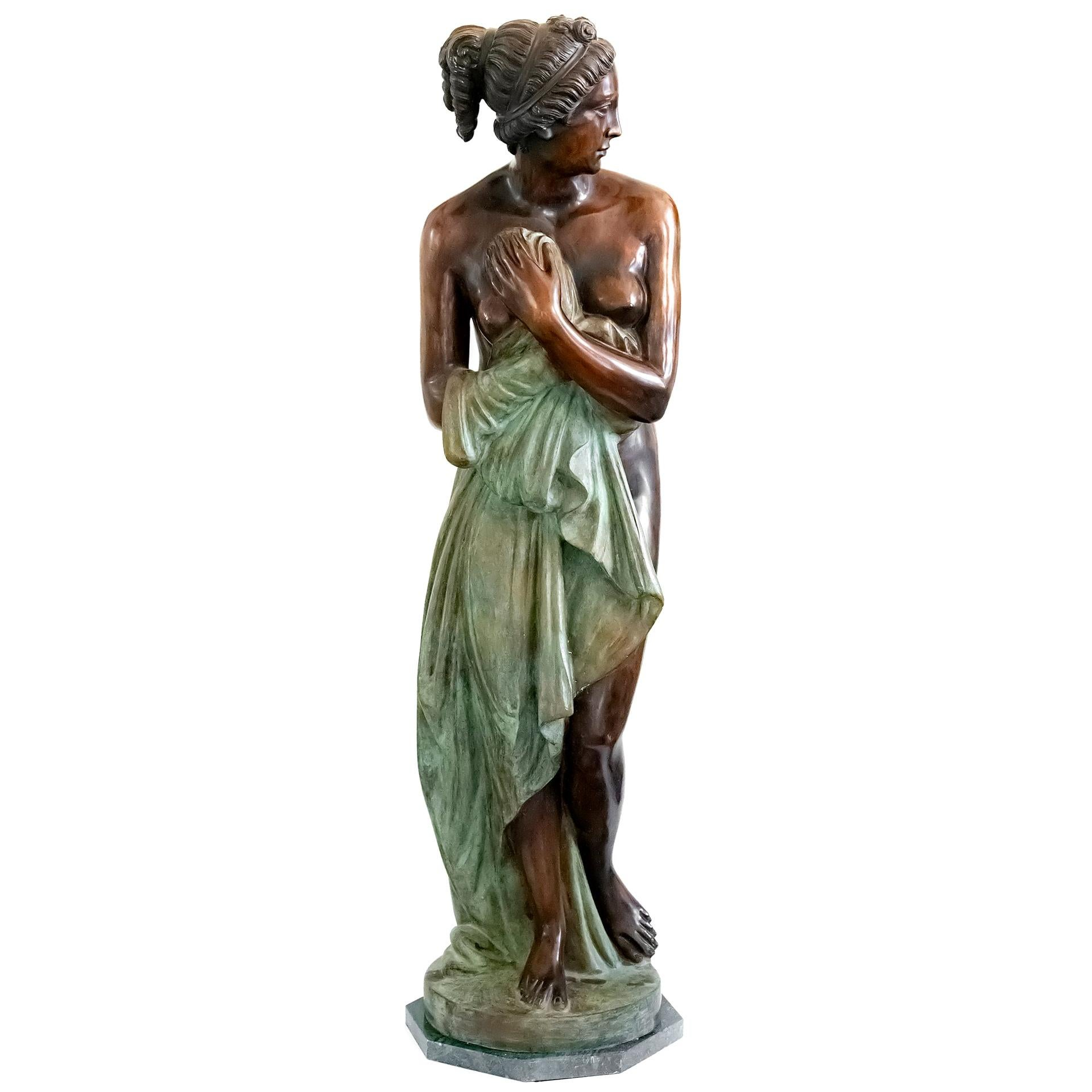 Large Italian Bronze Female Sculpture on Green Marble Base, circa 1950