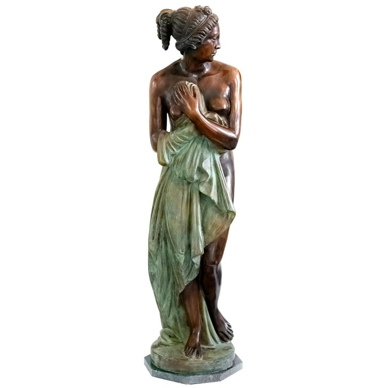 Large Italian Bronze Female Sculpture on Green Marble Base, circa 1950 For Sale