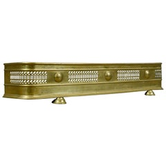 Antique Brass Fire Kerb, Victorian Fireside Fender, circa 1890