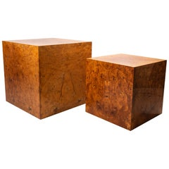 Jean-Claude Mahey, Two Side Tables, Wood, circa 1970, France