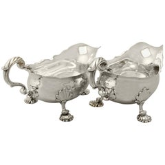 1750s Georgian English Sterling Silver Gravy Boats by Fuller White