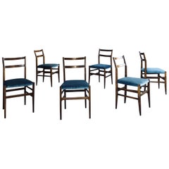 "Gio Ponti Avio Velvet ""646"" Leggera Dining Chairs for Cassina, 1956, Set of Six"