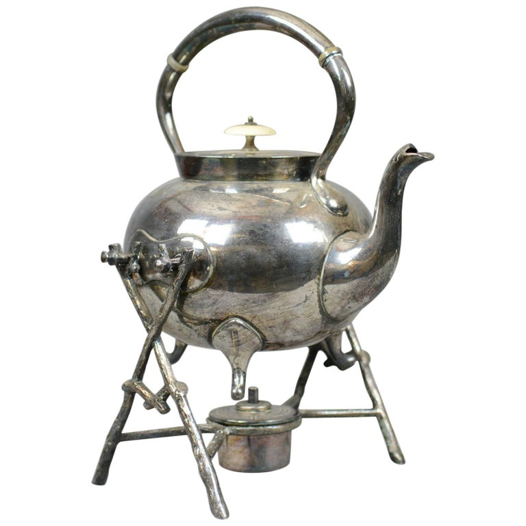 Antique Spirit Kettle on Stand, Decorative, Silver Plated, Tea Pot For Sale