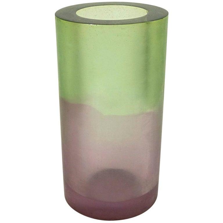 Green Purple Resin Vase Postmodern Memphis Style by Steve Zoller For Sale