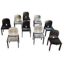 """Afra & Tobia Scarpa Velvet """"121"""" Dining Chairs for Cassina, 1965, Set of Nine"""