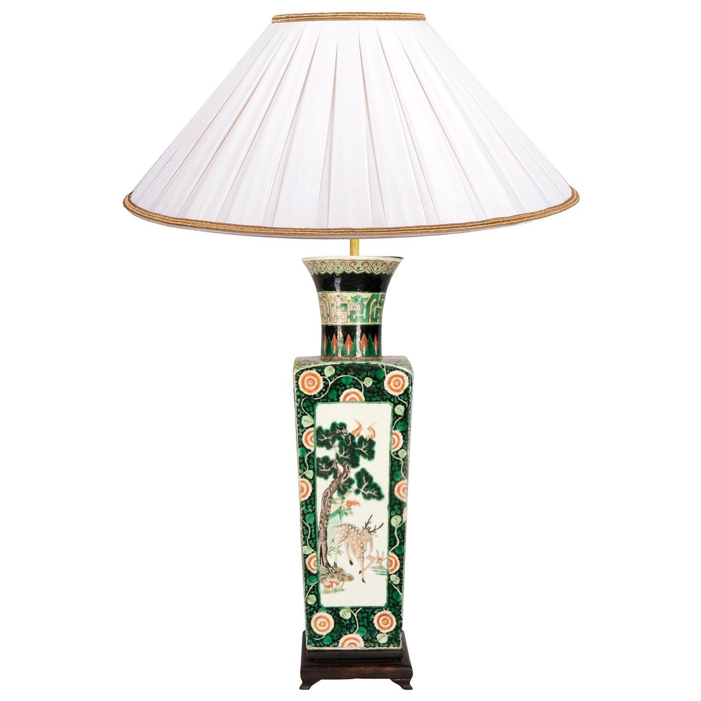 19th Century Famille Verte Chinese Vase or Lamp