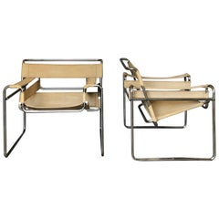 """Marcel Breuer Bauhaus Canvas Seat B3 """"Wassily"""" Chairs for Knoll, 1971, Set of 2"""
