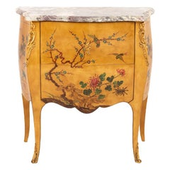 Small Louis XV Style Yellow Lacquered Commode, circa 1950