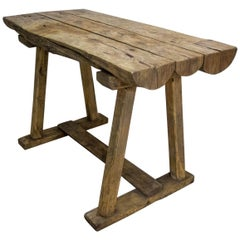 Brocante Farmhouse Tree Trunk Workbench, Handcrafted