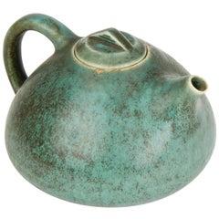 Vintage Danish Saxbo Eva Stæhr-nielsen Green Art Pottery Teapot