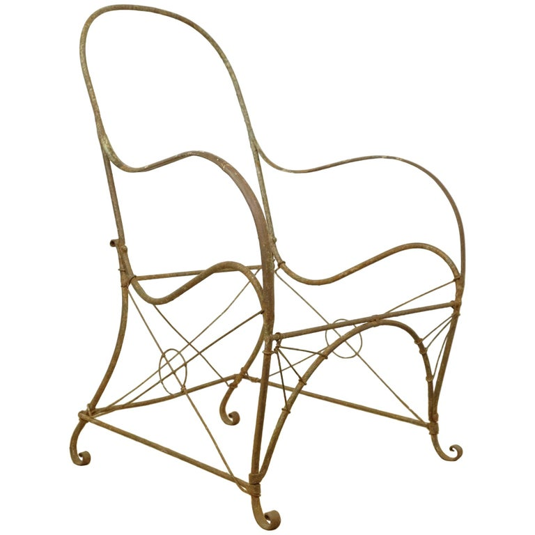 French Wrought Iron Garden Chair Frame, Sculptural, 19th Century, Garden Feature For Sale