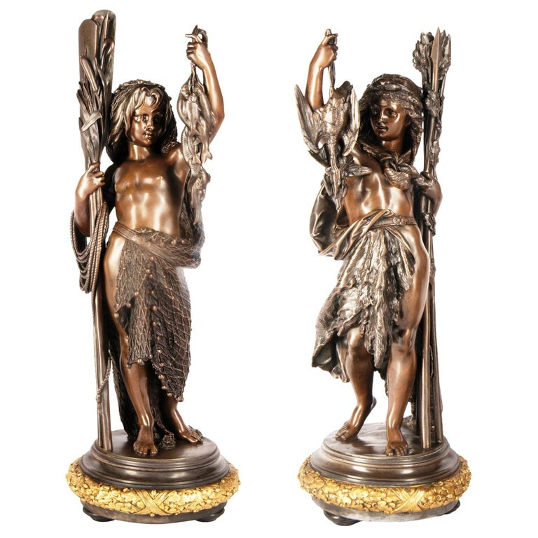 Bronze Figures by 'Carrier' of Hunting and Fishing, 19th Century For Sale