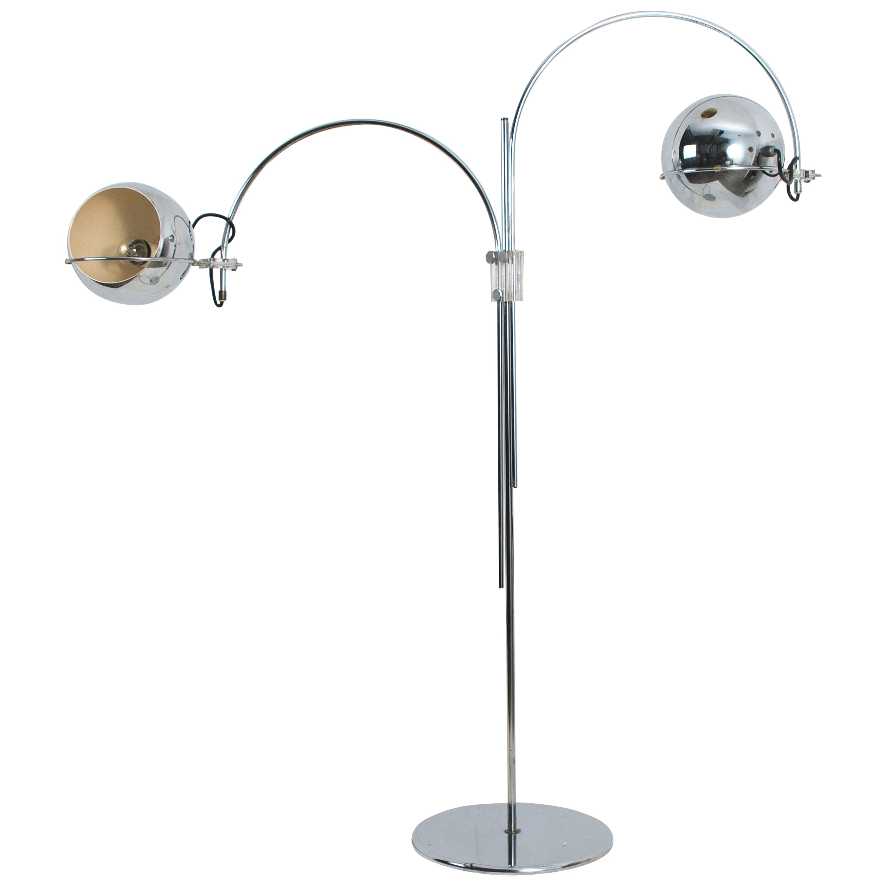 Dutch Chrome Floor Lamp from Gepo, Double Eye-Ball, 1960s