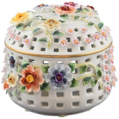 Porcelain Sweet Box with Flowers, after Models from Sèvres 'France'