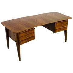 Vintage Curved Desk, Walnut Grain Bauhaus Style Design
